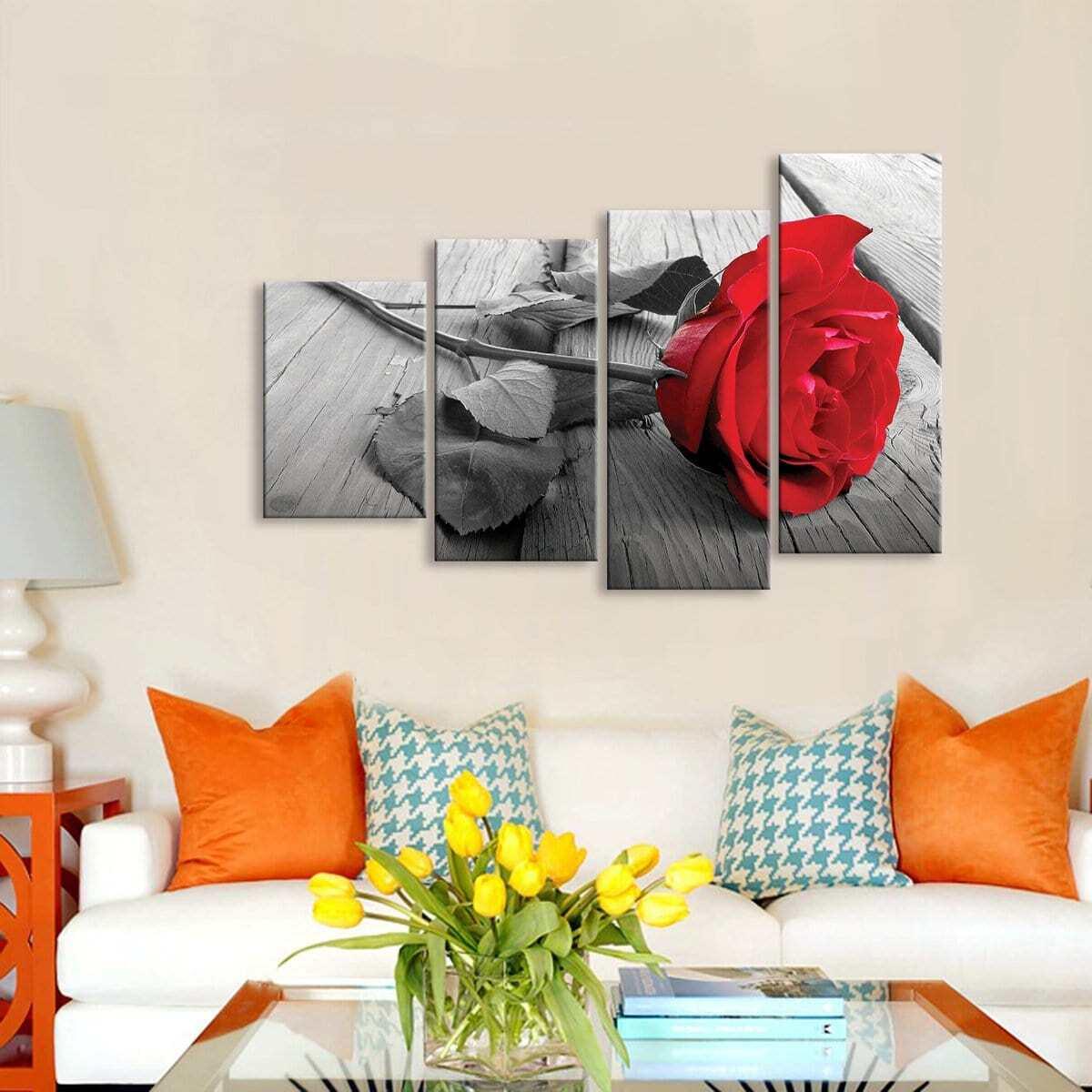 SHEIN / Wanddekor mit Rose Muster 4pcs