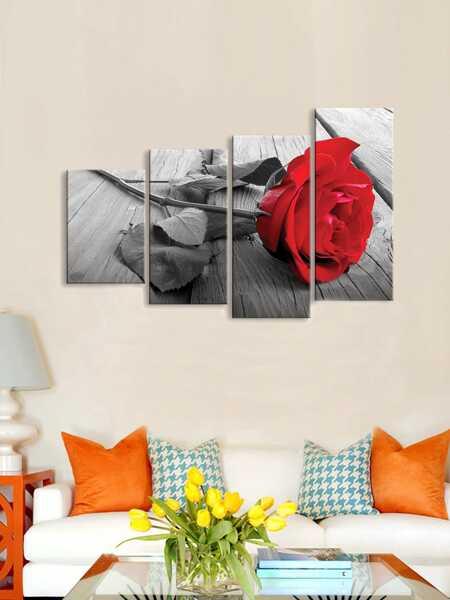 Rose Print Wall Art 4pcs