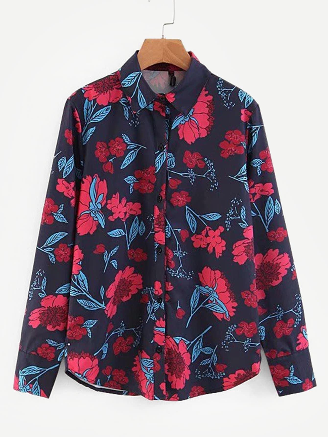 Купить Цветочная блузка с выгнутым подолом, null, SheIn