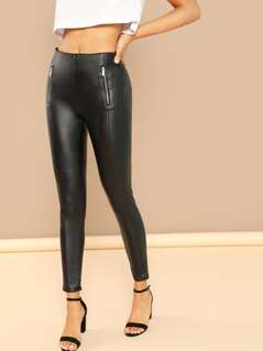 Zipper Detail Faux Leather Leggings
