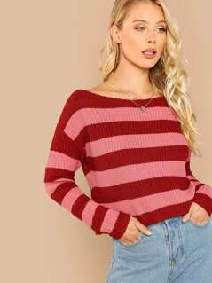 Striped Round Neck Rib Knit Sweater