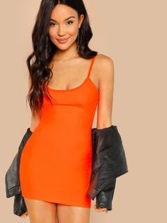 Round Neckline Jersey Knit Cami Bodycon Mini Dress
