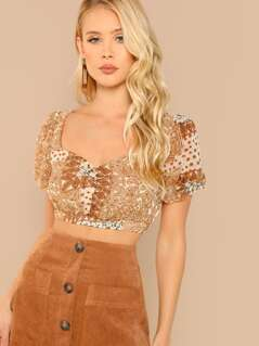 Shirred Front Paisley Floral Printed Crop Boho Top