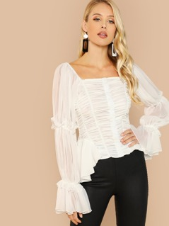 Button Front Ruched Long Sleeve Flare Cuff Blouse