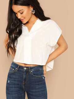 V-Neck Cropped Short Sleeve Dip Hem Shirt