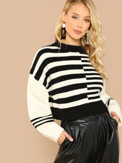 Striped Round Neck Thick Rib Knit Sweater