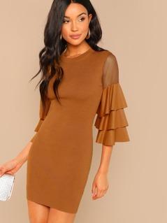 Ruffle Long Sleeve Bodycon Knit Mini Dress
