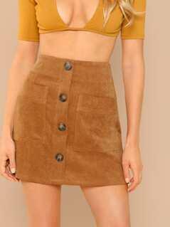 Button Detail Corduroy A-Line Mini Skirt