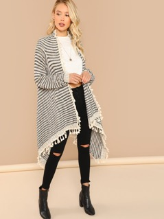 Open Front Knit Cardigan With Tassel Accents