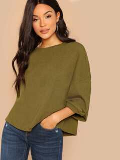 Round Neck Relaxed Fit Drop Shoulder Knit Top