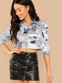 Newspaper Print Button Long Sleeve Crop Shirt