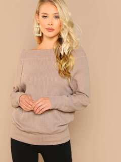 Waffle Knit Dolman Sleeve Off The Shoulder Top