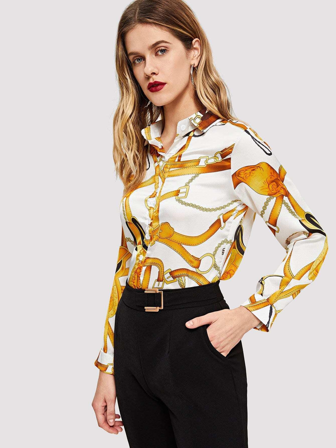 Купить Блуза с принтом случайным, Victoriab, SheIn
