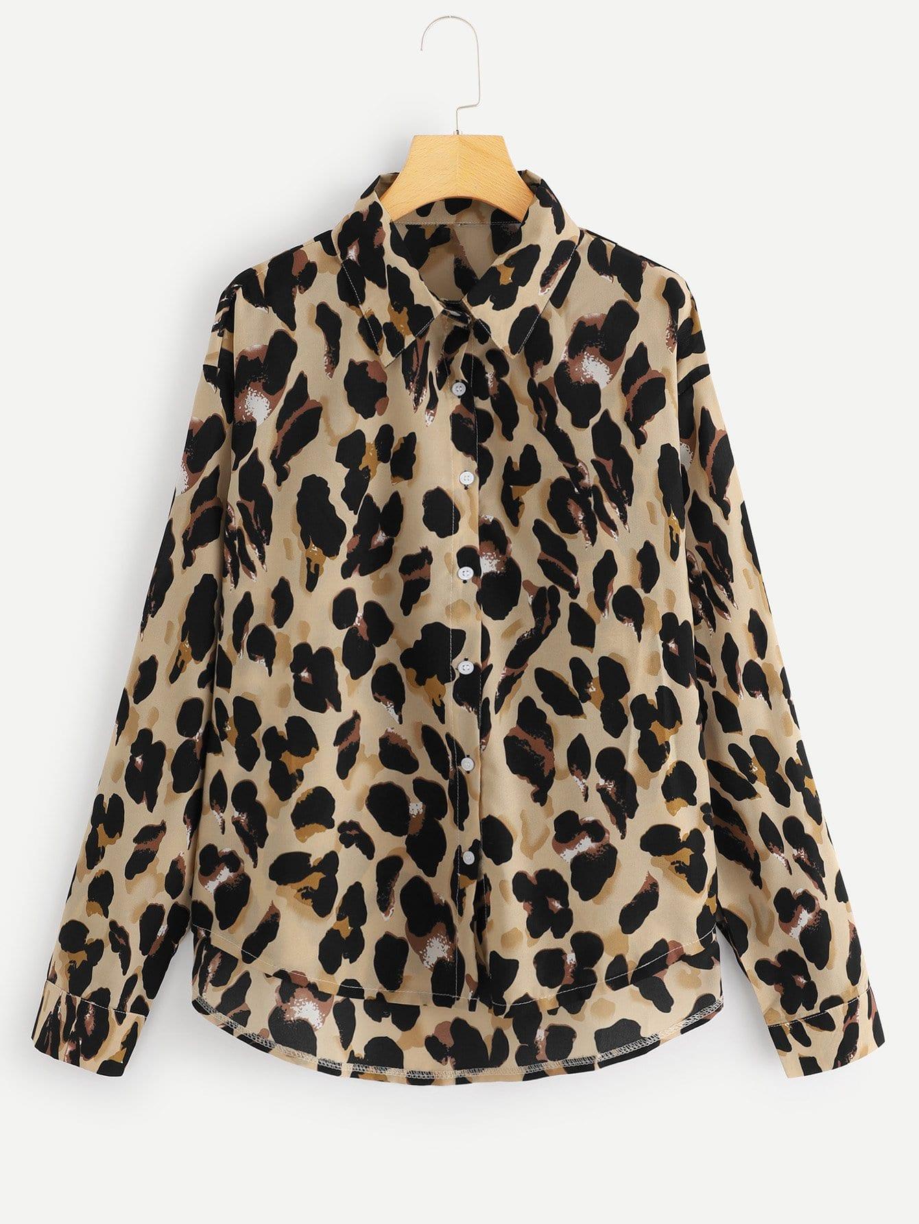 Купить Леопардовая футболка кривой подол, null, SheIn