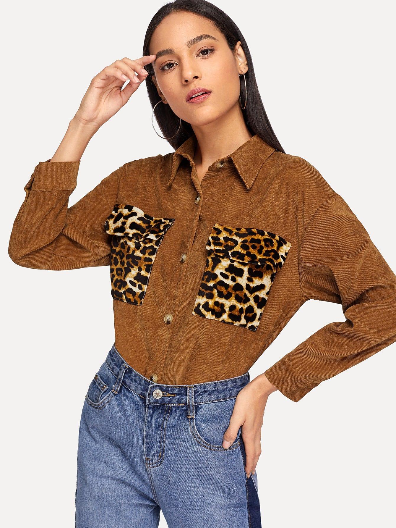 Купить Леопардовая блуза с кулиской, Kary, SheIn