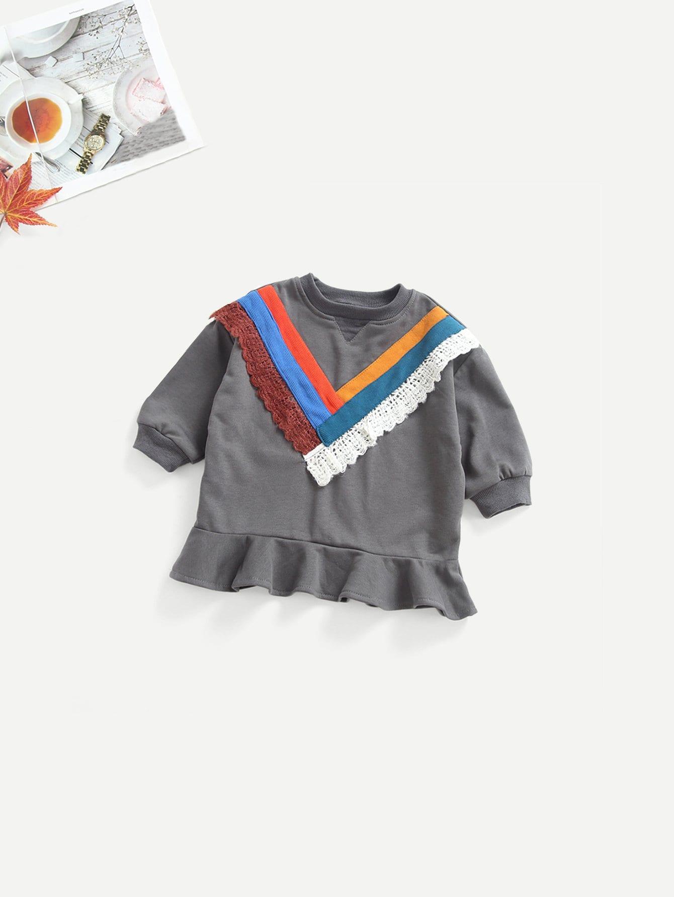 Купить Асимметричный свитшот с контрастными лентами для малышских девочек, null, SheIn