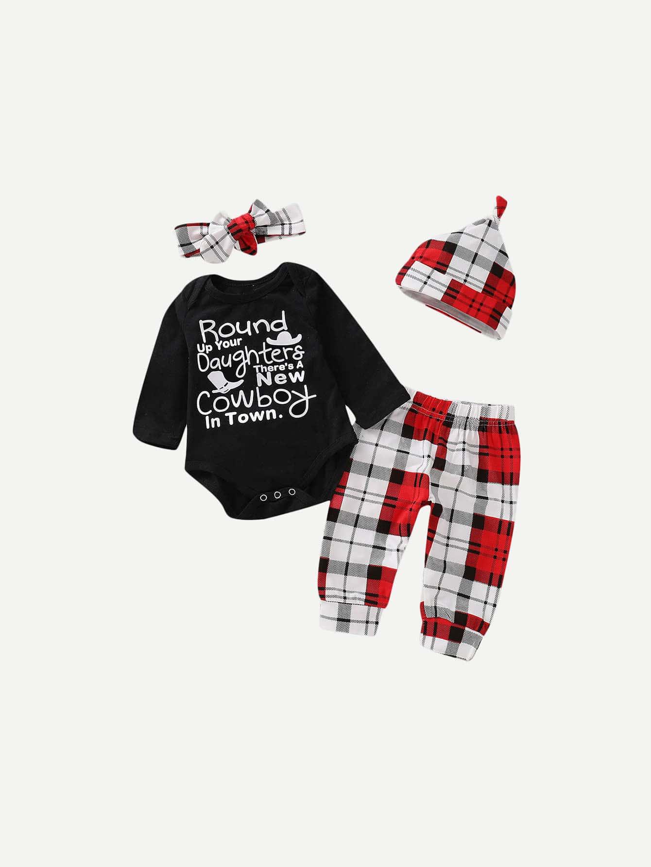 Купить Блуза с принтом букв и полосатые брюки и шляпка и бандана для малышских девочек, null, SheIn