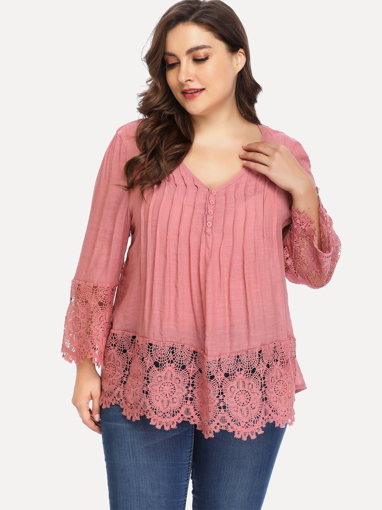 Купить Плюс размеры контрастные кружева блузка, Franziska, SheIn