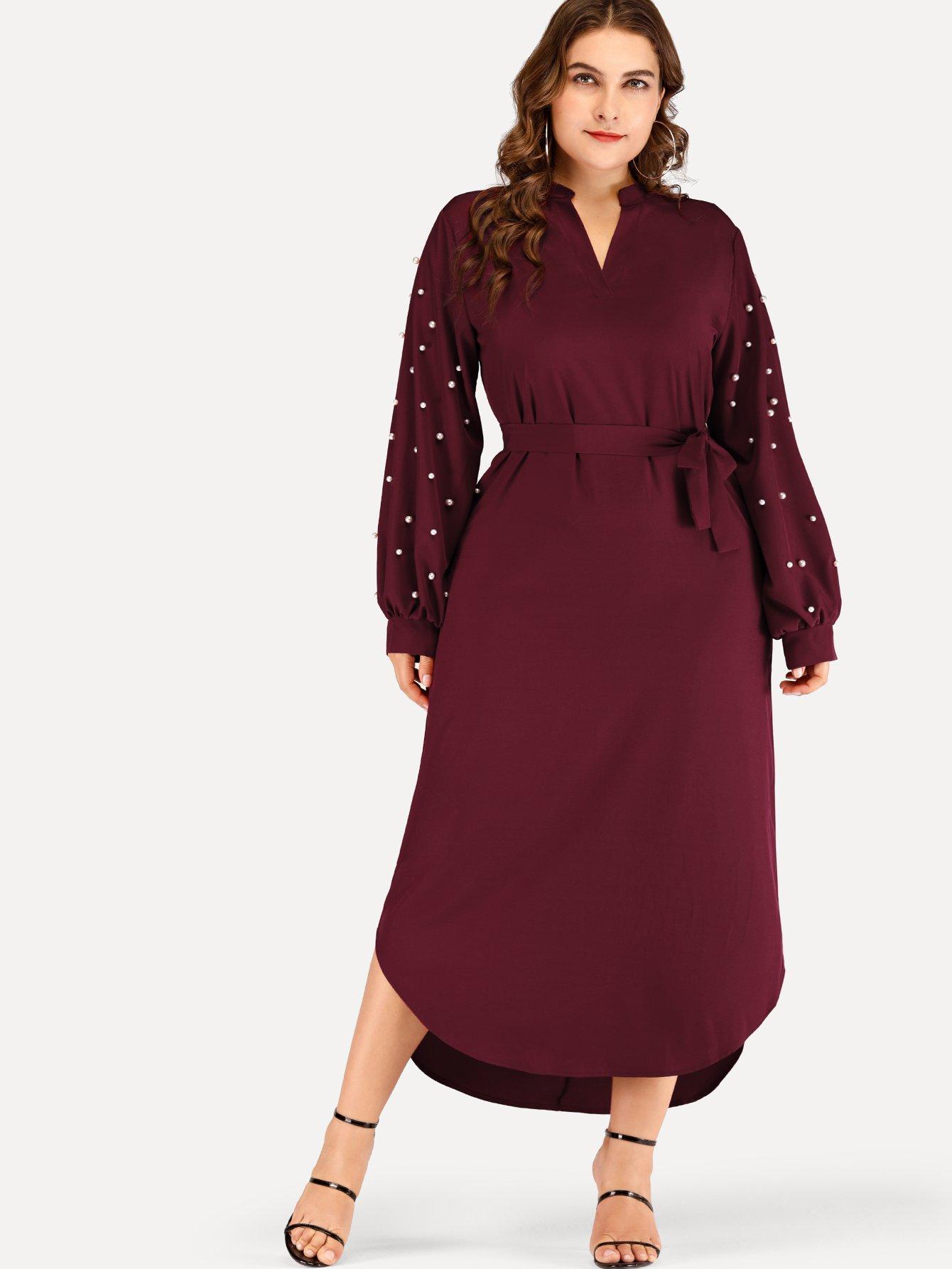 Плюс размеры твердое платье с поясом с бисерами