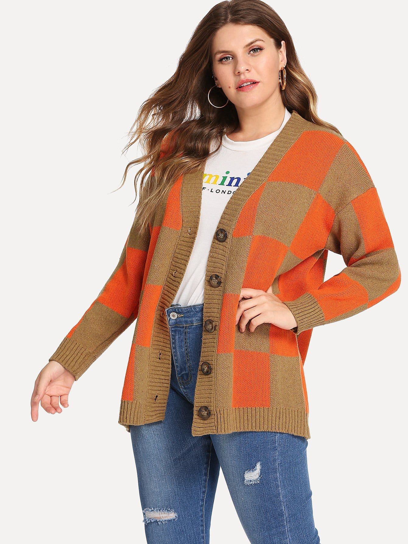 Купить Плюс размеры контрастный свитер пальто в клетку, Isabela, SheIn