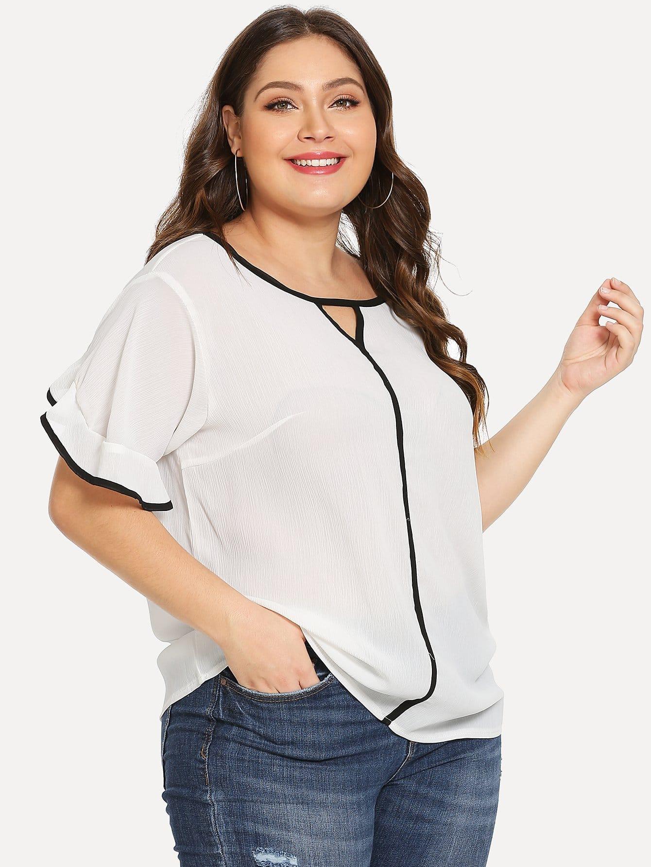 Купить Большая блуза со симметрическими обшивками и рукав с розеткой, Carol, SheIn