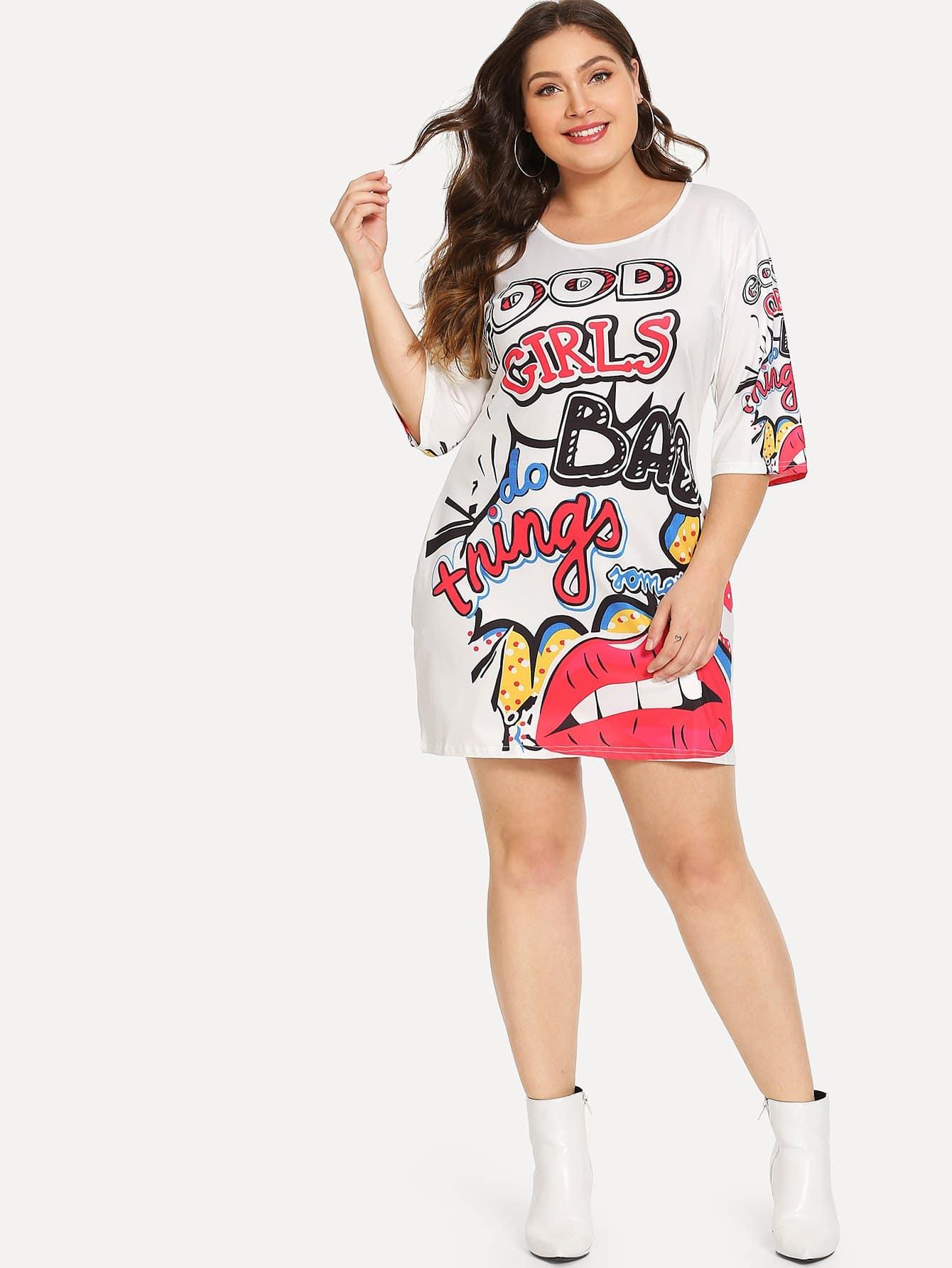 Размер плюс приталенное платье с графическим принтом, Carol, SheIn  - купить со скидкой