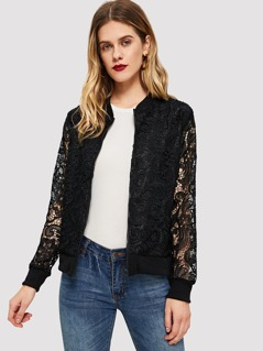 Solid Lace Bomber Jacket