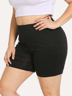 Plus Solid Leggings Shorts