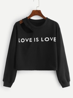 Letter Print Cut Out Neck Pullover