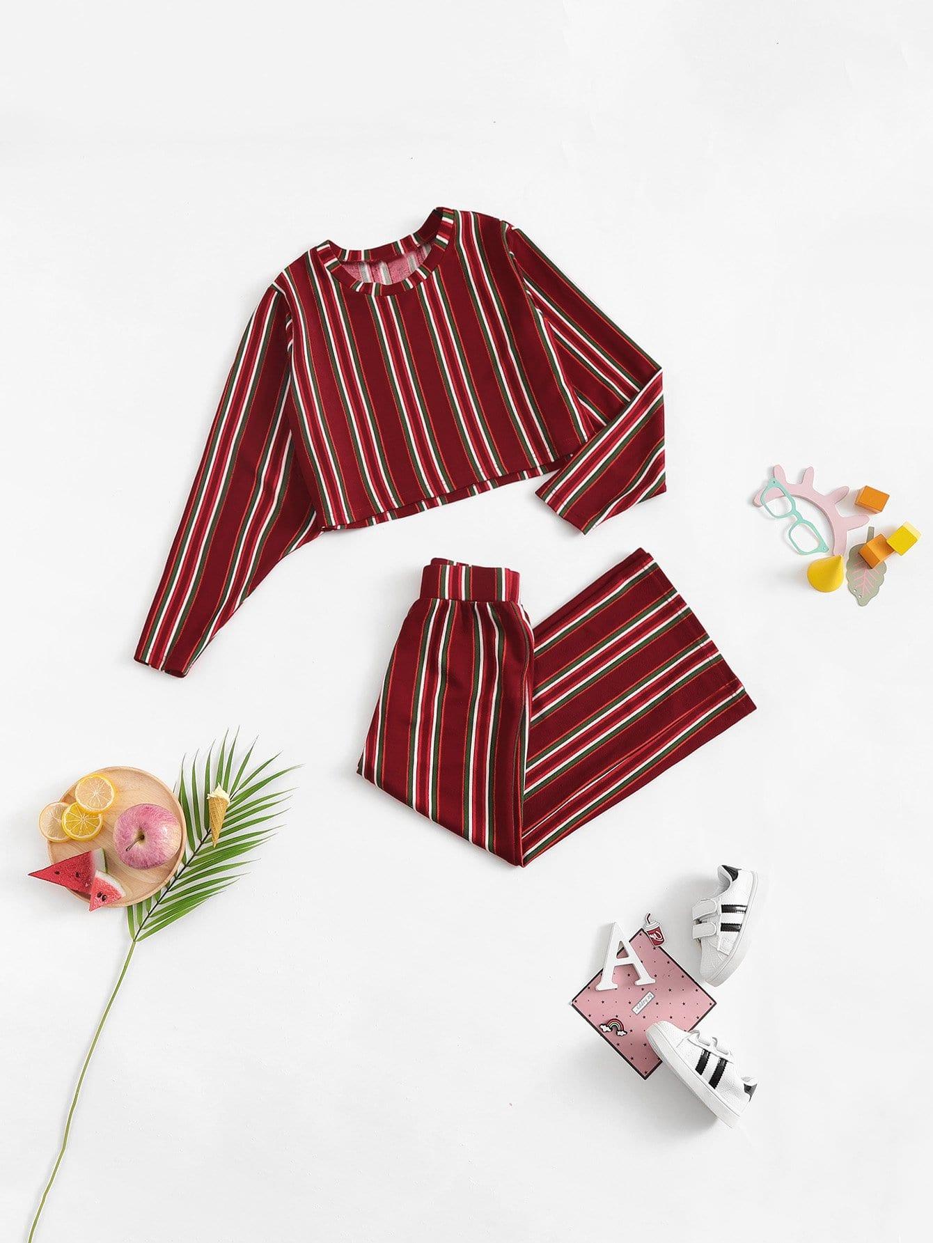 Купить Полосатая блузка и широкие ножные штаны для девочки, null, SheIn