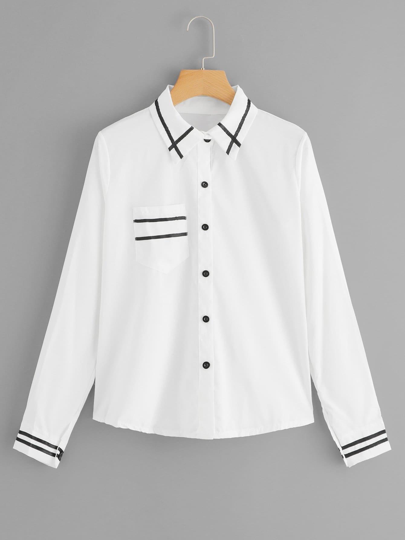 Купить Контрастная тонкая-полосатая однобортная футболка, null, SheIn