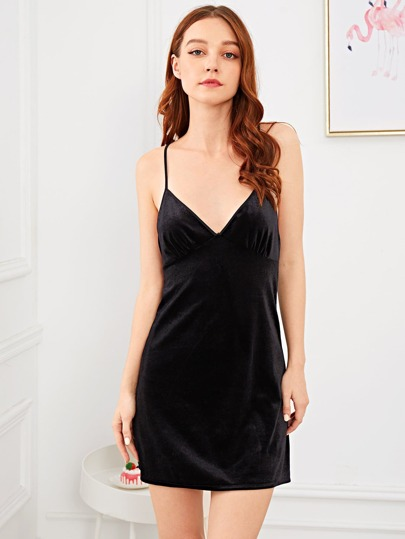 SheIn / Crisscross Back Velvet Cami Dress