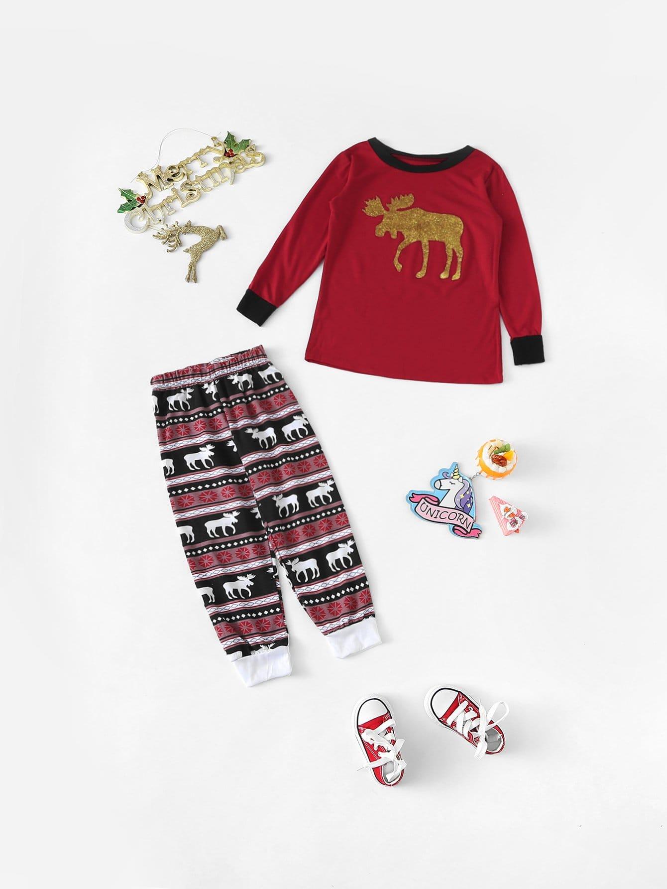 Купить Рождественский комплект полосатой пижамы с принтом оленя для детей, null, SheIn