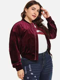 Plus Drop Shoulder Zipper Velvet Bomber Jacket