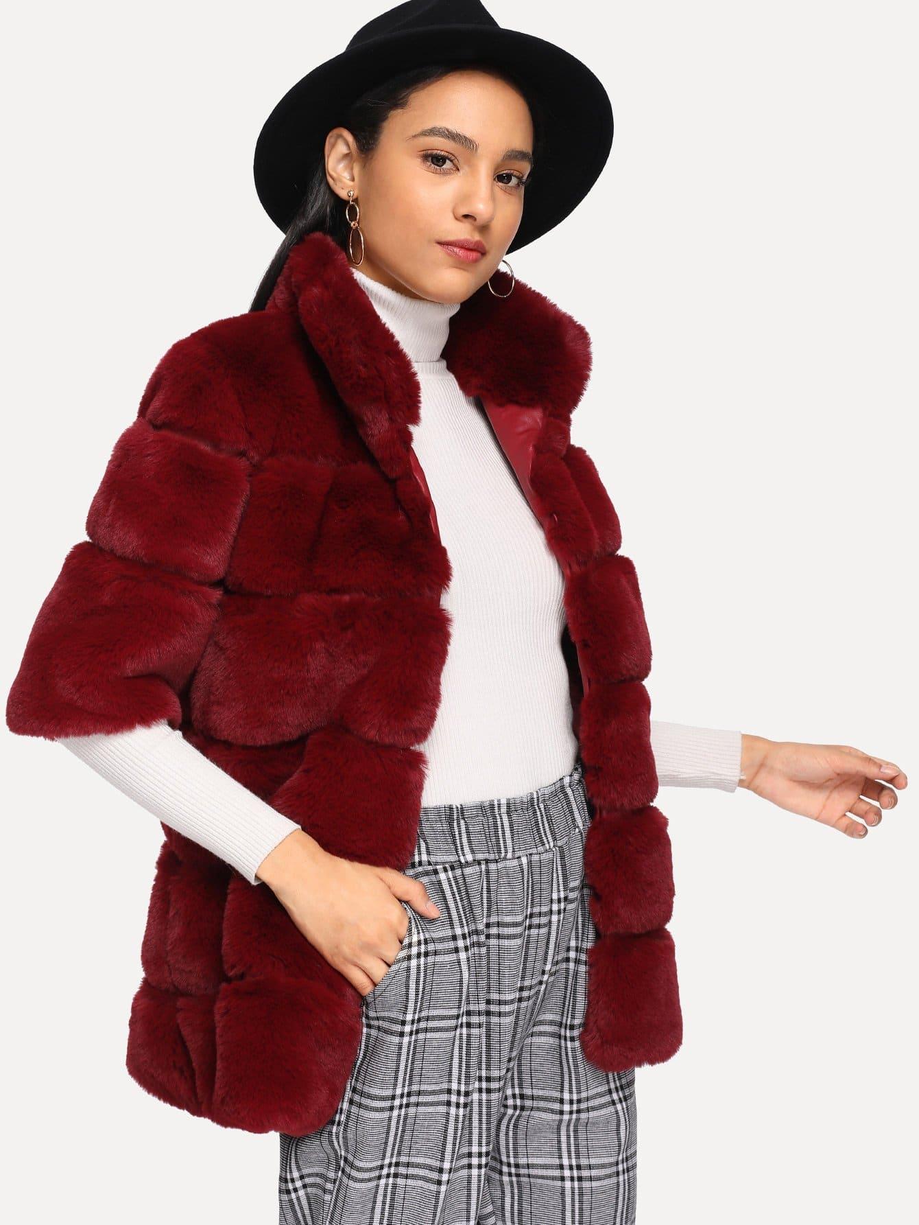 Открытое переднее текстурированное меховое пальто из меха SheIn