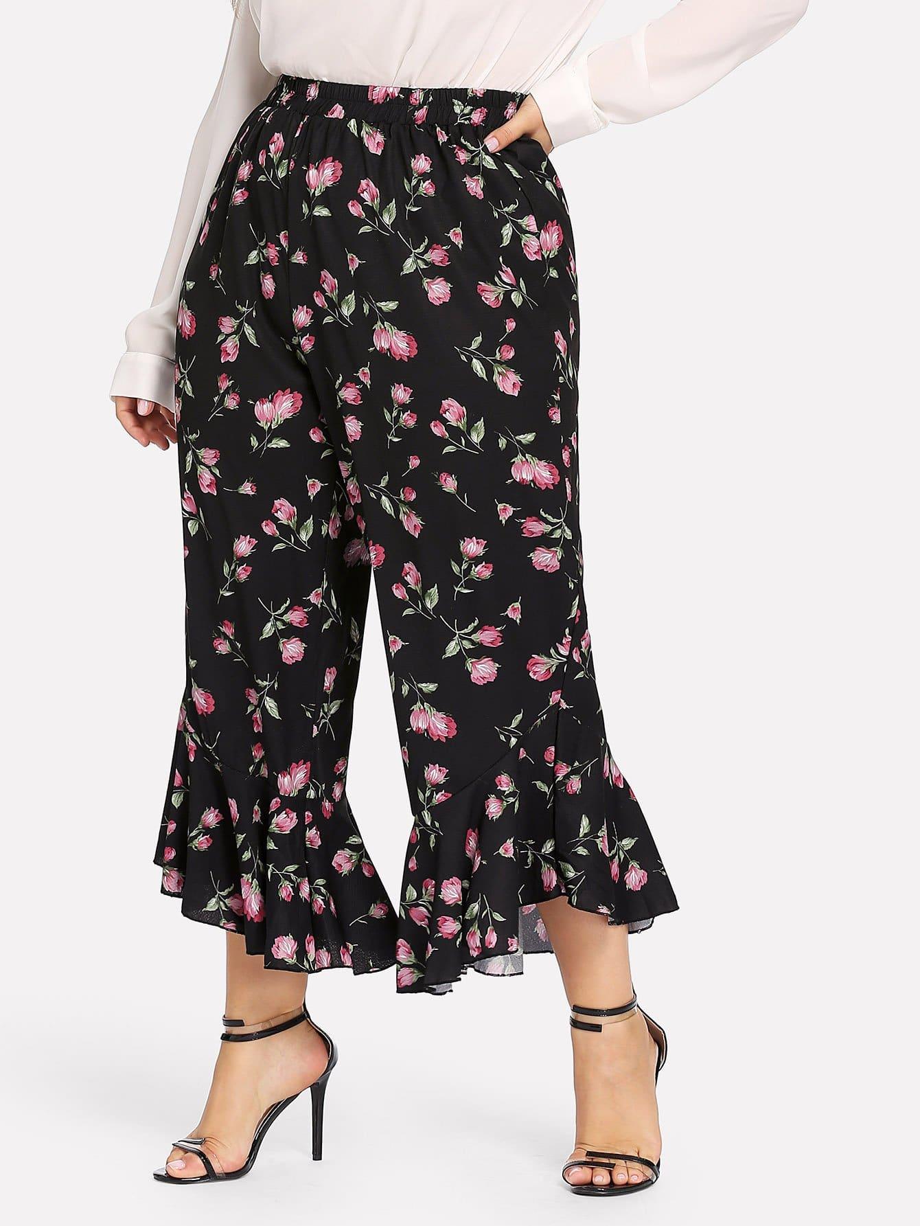 Купить Плюс размеры цветочные брюки с широкой талией, Franziska, SheIn