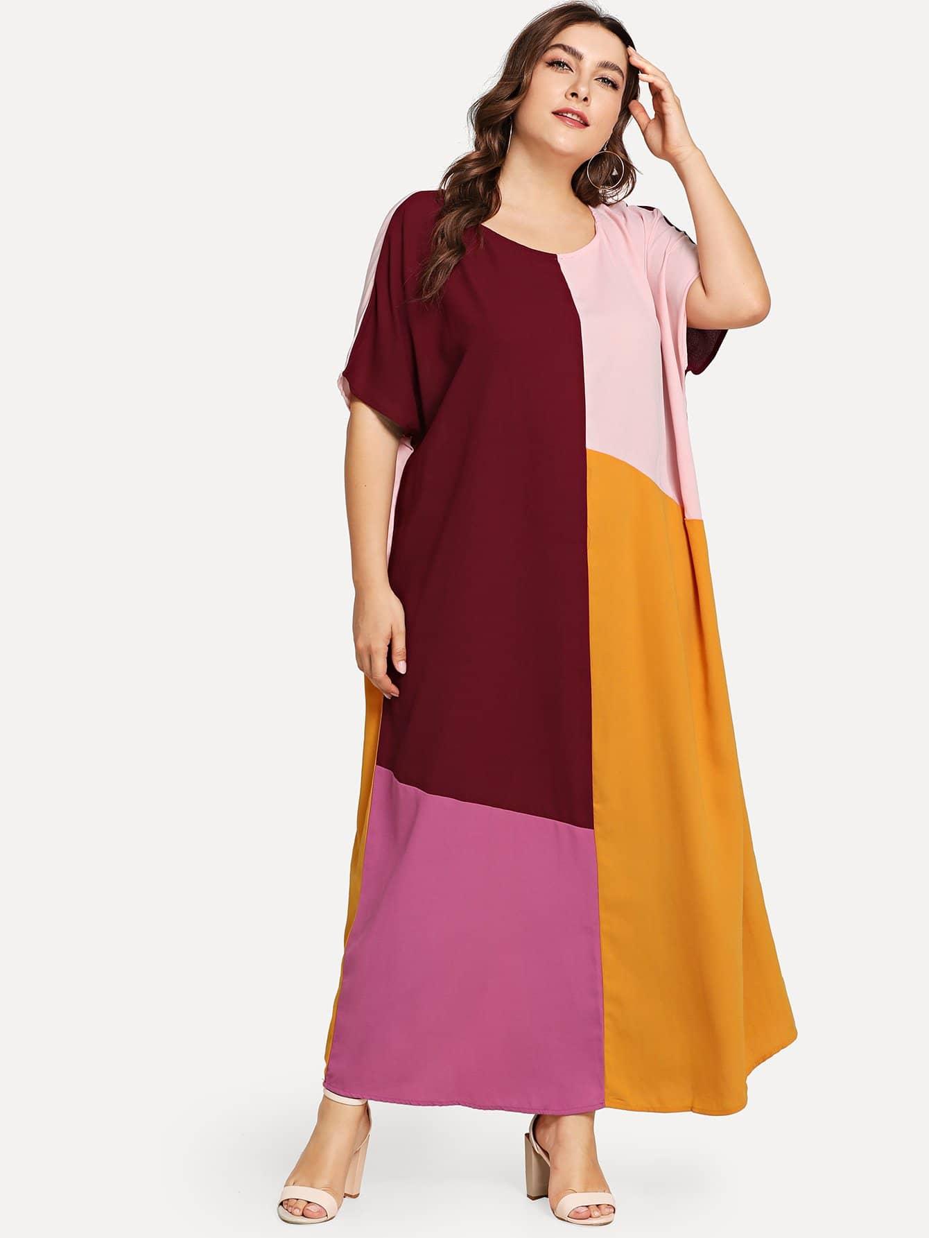 Плюс размеры контрастное макси платье