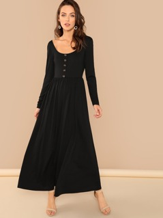 Button Front Low Back Maxi Dress