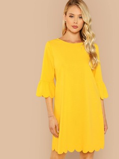 Scallop Edge Flounce Sleeve Dress