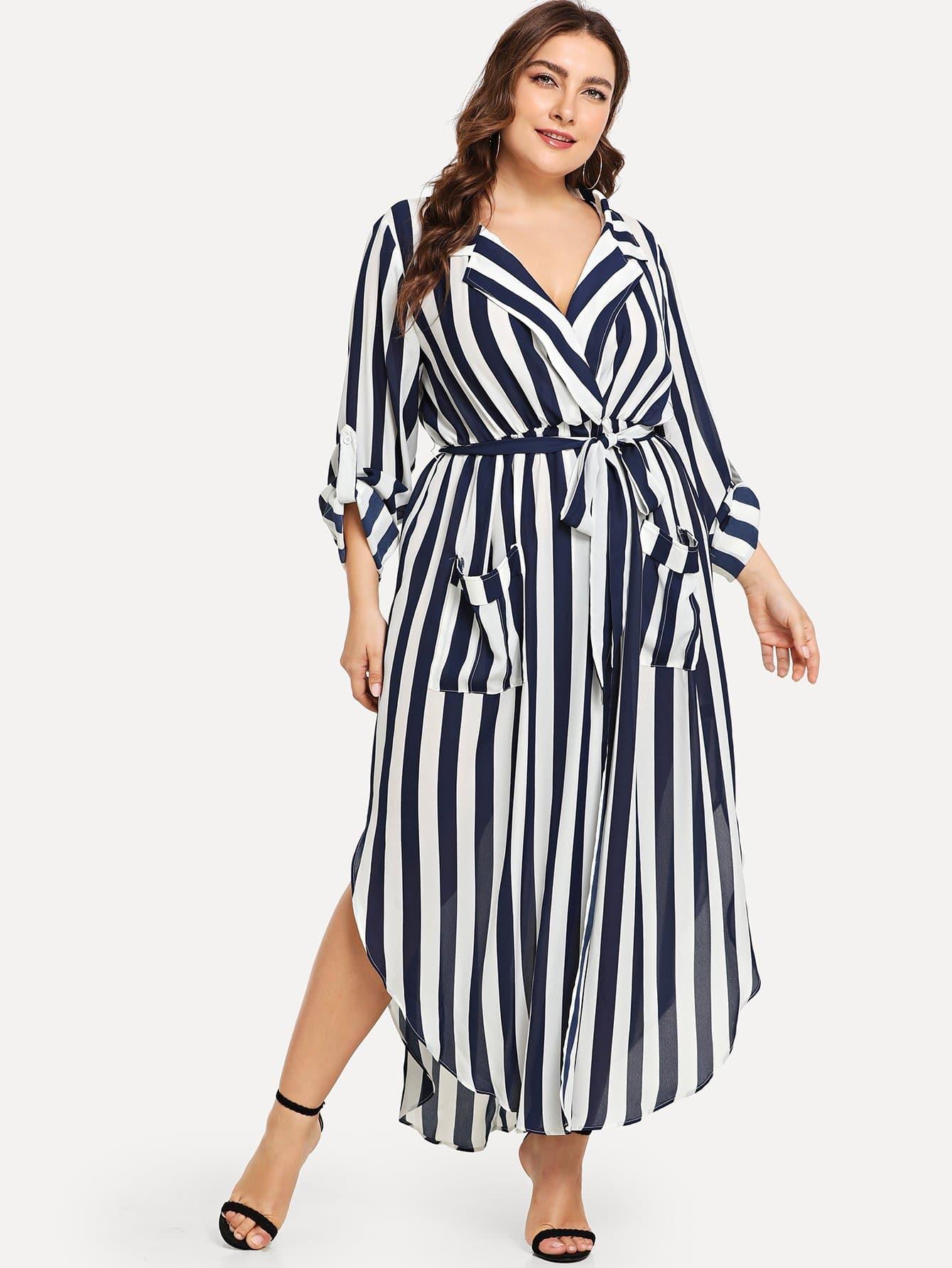 Плюс размеры платье в полоску с v-образным вырезом