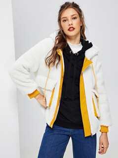 Pocket Front Zip Up Faux Fur Jacket