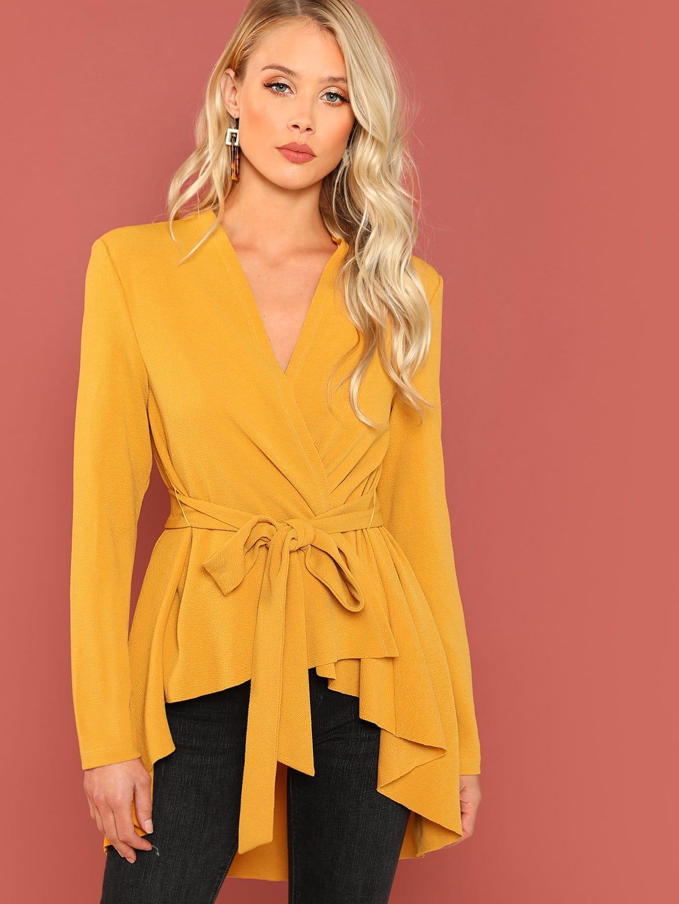 Купить Асимметричное пальто с поясом, Allie Leggett, SheIn