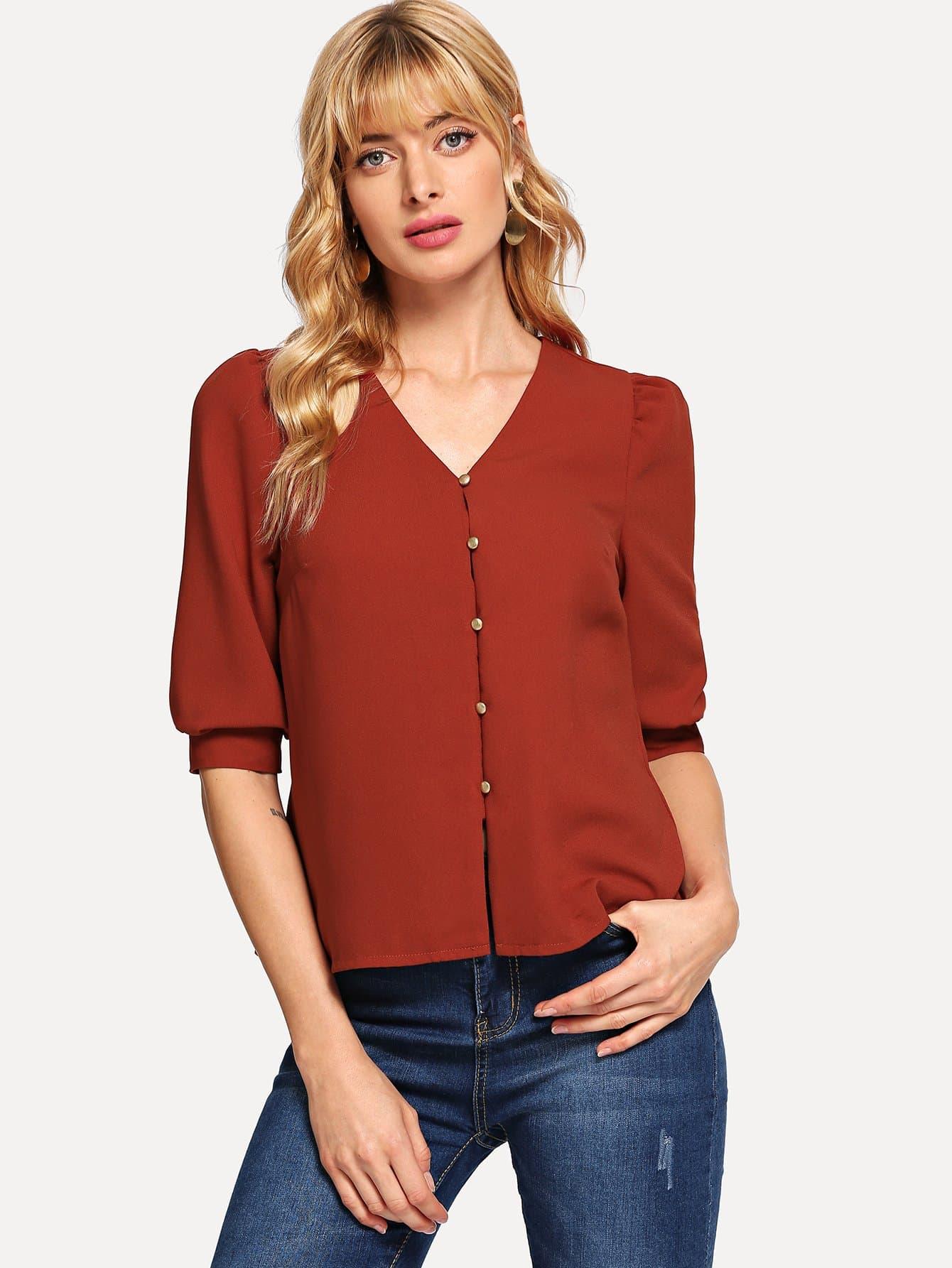 Купить Блуза с рукав-фонариками и украшением пуговицы, Masha, SheIn