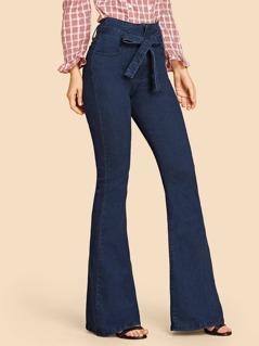 Tie Waist Flare Leg Jeans