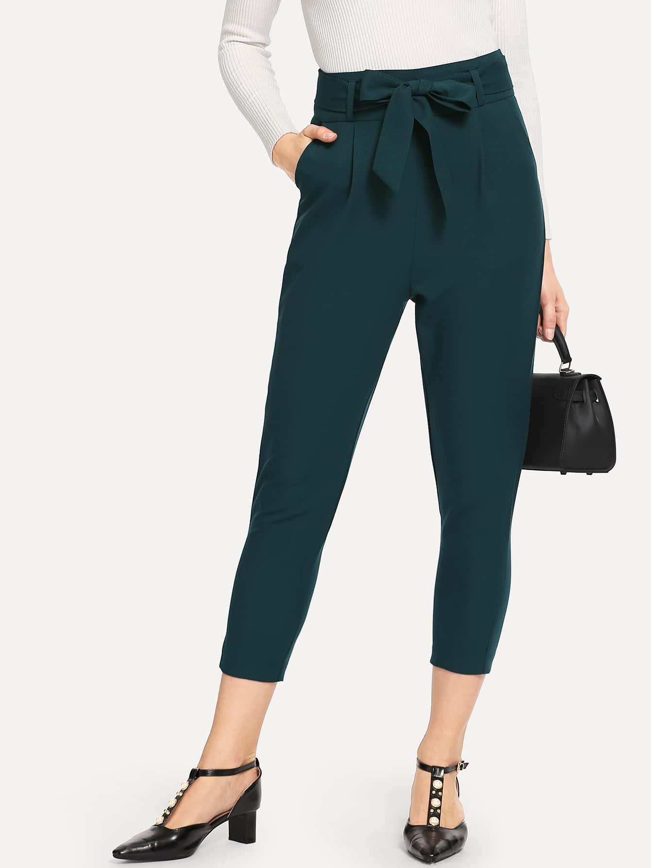 Купить Кроп-брюки с поясом и высокой талией, Masha, SheIn
