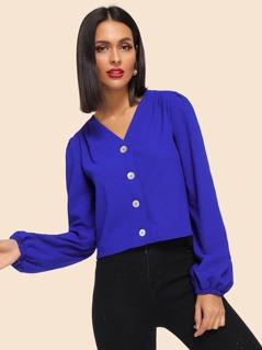Button Up V Neck Shirt
