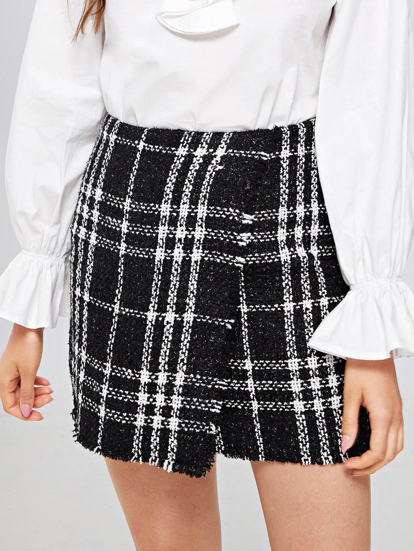 Купить Твидовая юбка со сырыми оторочками, Oliwia, SheIn
