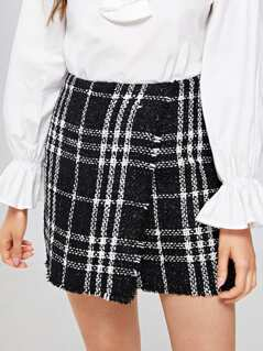 Frayed Edge Tweed Skirt