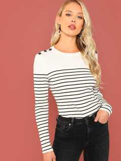 Button Detail Rib Knit Striped Tee
