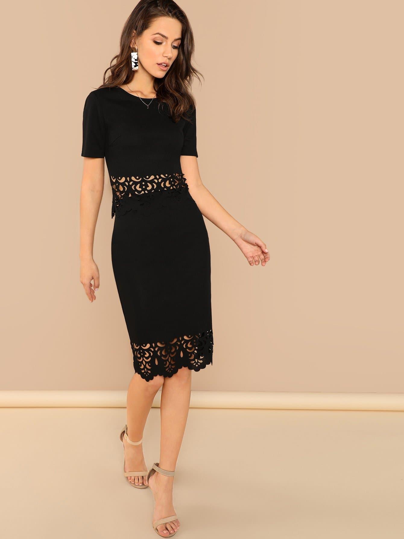 Купить Веерообразная лазерная резка топ юбка шить, Zorana, SheIn